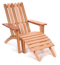 Red Cedar Adirondack Easyback Chair & Ottoman All Things Cedar AEO21U
