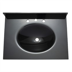"31"" Black Glass Integrated Sink Top (8"" Holes) - Avanity GUT31BK (Shipping Included)"