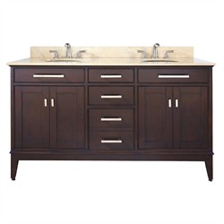 "Madison 60"" Espresso Vanity w/ White Marble - Avanity MADISON-VS60-LE-C (Shipping Included)"