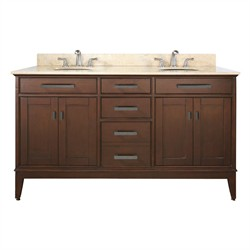 "Madison 60"" Tobacco Vanity w/ White Marble - Avanity MADISON-VS60-TO-C (Shipping Included)"