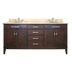 "Madison 72"" Espresso Vanity w/ Black Granite - Avanity MADISON-VS72-LE-A (Shipping Included)"