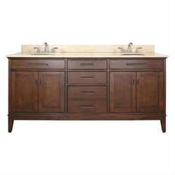 "Madison 72"" Tobacco Vanity w/ Beige Marble - Avanity MADISON-VS72-TO-B (Shipping Included)"
