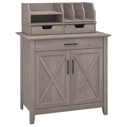 Key West Laptop Storage Credenza with Desktop Organizers in Washed Gray - Bush Furniture KWS011WG