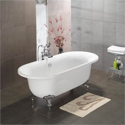 "Cambridge Plumbing ADE-7DH Acrylic Double Ended Clawfoot Bathtub 70"" X 30"" with 7"" Deck Mount Faucet Drillings"