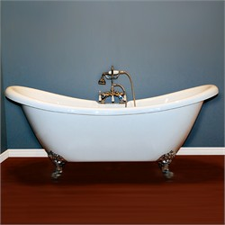 "Cambridge Plumbing ADES-7DH Acrylic Double Ended Slipper Bathtub 68"" X 28"" with 7"" Deck Mount Faucet Drillings a"
