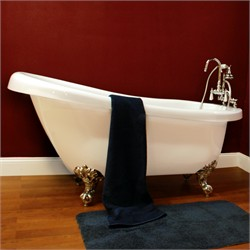 "Cambridge Plumbing AST61-7DH Acrylic Slipper Bathtub 61"" X 30"" with 7"" Deck Mount Faucet Drillings"