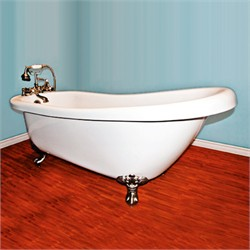 "Cambridge Plumbing AST67-7DH Acrylic  Slipper Bathtub 67"" X 30"" with 7"" Deck Mount Faucet Drillings"