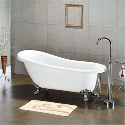 "Cambridge Plumbing AST67-NH Acrylic Slipper Bathtub 67"" X 30"" with No Faucet Drillings"