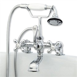 Cambridge Plumbing CAM463-2-CP Clawfoot Tub Deck Mount Brass Faucet with Hand Held Shower-Polished Chrome