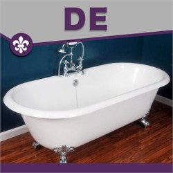 "Cambridge Plumbing DE-67-7DH Cast Iron Double Ended Clawfoot Tub 67"" X 30"" with 7"" Deck Mount Faucet Drillings"