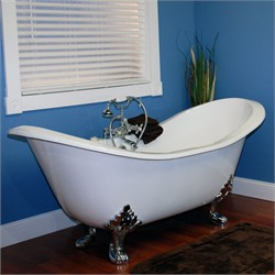 "Cambridge Plumbing DES-7DH Cast Iron Double Ended Slipper Tub 71"" X 30"" with 7"" Deck Mount Faucet Drillings"