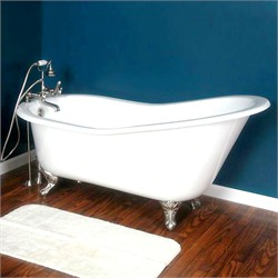 "Cambridge Plumbing ST61-7DH Cast Iron Slipper Clawfoot Tub 61"" X 30"" with 7"" Deck Mount Faucet Drillings and Brushed Nickel Feet"