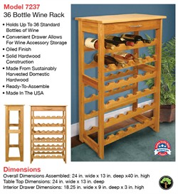 Wine Rack with 36 Bottle Storage - Catskill Craftsmen 7237