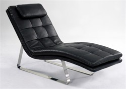 Corvette Black Leather Chaise Lounge Chintaly CORVETTE-LNG-BLK