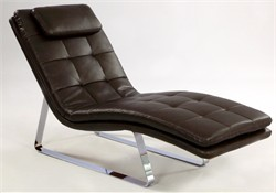 Corvette Brown Leather Chaise Lounge Chintaly CORVETTE-LNG-BRW