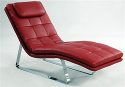 Corvette Red Leather Chaise Lounge Chintaly CORVETTE-LNG-RED