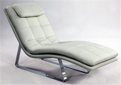 Corvette White Leather Chaise Lounge Chintaly CORVETTE-LNG-WHT