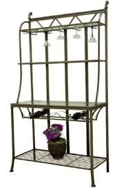 Hand Painted Bronze Bakers Rack with Tempered Glass Shelves - Chintaly DARCY-BR