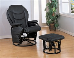 Black Reclining Glider and Ottoman - Coaster 2946