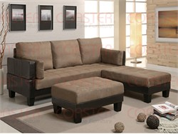 Two-Tone Brown Sofa Bed with 2 Ottomans - Coaster 300160