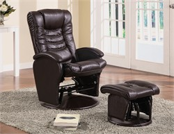 Brown Glider and Ottoman - Coaster 600165