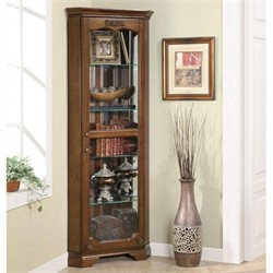 Traditional Cherry Corner Curio Cabinet - Coaster 950195