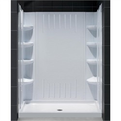 "DreamLine SlimLine 32"" by 60"" Single Threshold Shower Base Center Drain and QWALL-3 Shower Backwall Kit - Dreamline DL-6146C-01"