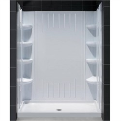"DreamLine SlimLine 34"" by 60"" Single Threshold Shower Base Center Drain and QWALL-3 Shower Backwall Kit - Dreamline DL-6147C-01"