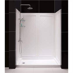 "DreamLine SlimLine 30"" by 60"" Single Threshold Shower Base Left Hand Drain and QWALL-5 Shower Backwall Kit - Dreamline DL-6189L-01"