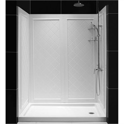 "DreamLine SlimLine 30"" by 60"" Single Threshold Shower Base Right Hand Drain and QWALL-5 Shower Backwall Kit - Dreamline DL-6189R-01"