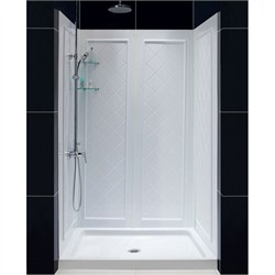 "DreamLine SlimLine 36"" by 48"" Single Threshold Shower Base and QWALL-5 Shower Backwall Kit - Dreamline DL-6193C-01"