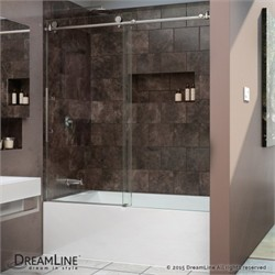 "DreamLine Enigma-X 56 to 59"" Frameless Sliding Tub Door, Clear 3/8"" Glass Door, Polished Stainless Steel Finish - Dreamline SHDR-61606210-08"