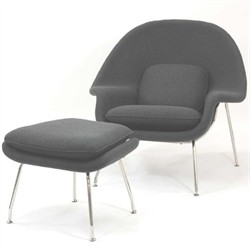 W Lounge Chair & Ottoman in Dark Grey - East End Imports EEI-113-DGR