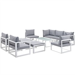 Fortuna 10 Piece Outdoor Patio Sectional Sofa Set EEI-1720-WHI-GRY-SET