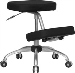 Mobile Ergonomic Kneeling Chair in Black Fabric w/ Silver Powder Coated Frame - Flash Furniture WL-1425-GG