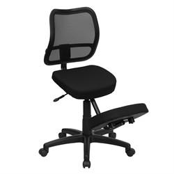Mobile Ergonomic Kneeling Task Chair w/ Black Curved Mesh Back & Fabric Seat - Flash Furniture WL-3425-GG