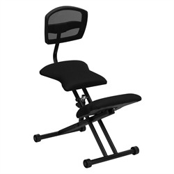 Ergonomic Kneeling Chair w/ Black Mesh Back & Fabric Seat - Flash Furniture WL-3440-GG