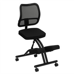 Mobile Ergonomic Kneeling Chair w/ Black Curved Mesh Back & Fabric Seat - Flash Furniture WL-3520-GG
