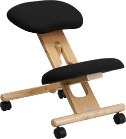 Mobile Wooden Ergonomic Kneeling Chair in Black Fabric - Flash Furniture WL-SB-210-GG