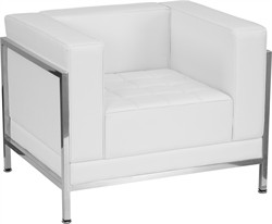 Hercules Imagination Series Contemporary White Leather Chair w/ Encasing Frame - Flash Furniture ZB-IMAG-CHAIR-WH-GG