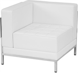 Hercules Imagination Series Contemporary White Leather Left Corner Chair w/ Encasing Frame - Flash Furniture ZB-IMAG-LEFT-CORNER-WH-GG