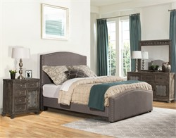 Kerstein Cal King Bed Set w/ Rails in Orly Gray Fabric - Hillsdale 1995BCKR (Shipping Included)