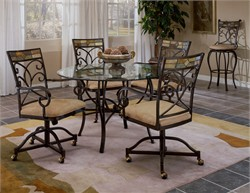 Pompei 5-PC Dining Set w/ Caster Chairs - Hillsdale 4442DTBCWC