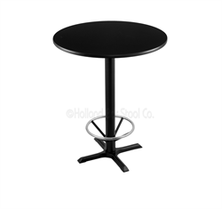 "(Shipping Included) Holland  42"" 211 Black Table /w 30"" Diameter Top & Foot Ring 211-2242BW30RFTRG"