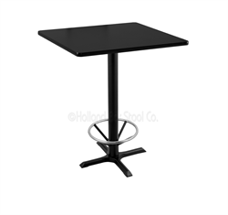 "(Shipping Included) Holland  42"" 211 Black Table /w 30"" x 30"" Square Top & Foot Ring 211-2242BW30SQFTRG"