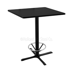 "(Shipping Included) Holland  36"" 211 Black Table /w 36"" x 36"" Square Top & Foot Ring 211-3036BW36SQFTRG"