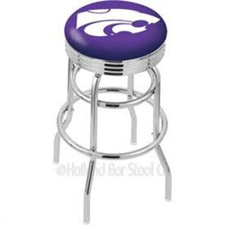 "25"" Chrome Double Ring Logo Swivel Counter Stool w/ 2.5"" Ribbed Accent Ring - Holland Bar Stool L7C3C-25 (Shipping Included)"