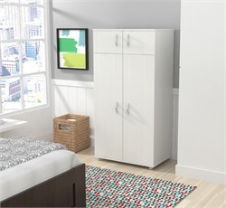 Inval America AM-12623 Four Door Wardrobe/Armoire in Laricina-White