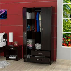 Inval America AM-B223 Espresso Three Door / Two Drawer Armoire