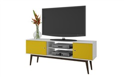 Accentuations by Manhattan Comfort 62AMC144 - Solna Splayed Leg TV Stand in White & Yellow.